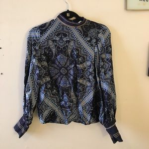 H&M scarf pattern shirt blue collar puffy sleeves